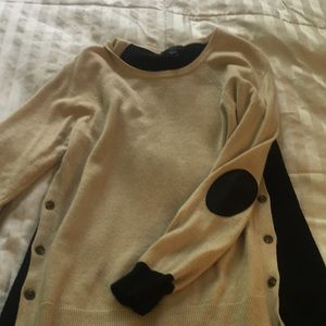J Crew Black and Tan elbow patch sweater